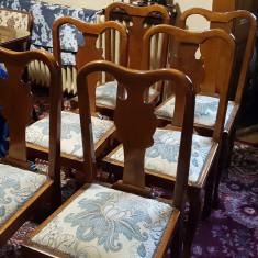 Sase scaune, RESTAURATE, lemn masiv, Lenghel, impecabile - Scaun living