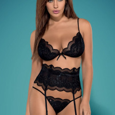 Set Sutien, Portjartier și Tanga Kisselent Obsessive - Set lenjerie sexy, Marime: L/XL, Culoare: Negru