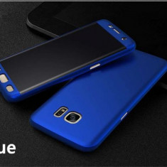 Husa 360 Plastic Albastra Fata Spate Si Folie Silicon Curbat - Samsung S7 Edge - Husa Telefon, Samsung Galaxy S7 Edge, Albastru, Carcasa