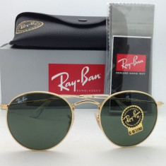Ochelari Ray Ban Round Metal 3447 002 - Ochelari de soare Ray Ban, Unisex, Verde, Rotunzi, Protectie UV 100%