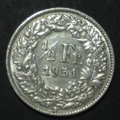 Elvetia 1/2 francs 1951 Argint, Europa