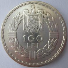 MONEDA DE 100 LEI 1932, LONDRA, ARGINT, CAROL AL II-LEA, STARE SUPERBA !! - Moneda Romania