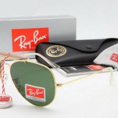 Ochelari Ray Ban Outdoorsman 3029 L2112 Rama aurie Lentile verzi - Ochelari de soare Ray Ban, Unisex, Verde, Pilot, Metal, Protectie UV 100%