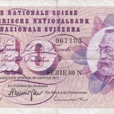 ELVETIA 10 francs 1972 VF!!! - bancnota europa