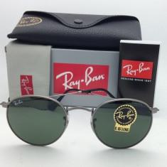 Ochelari Ray Ban Round Metal 3447 029 - Ochelari de soare Ray Ban, Unisex, Verde, Rotunzi, Protectie UV 100%