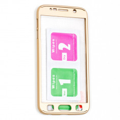 Husa Plastic, 360 Full Protective + Sticla, Auriu, Samsung Galaxy S7 - Husa Telefon
