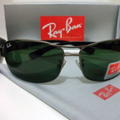 Ochelari Ray Ban Lifestyle 3379 Rama Lentile verzi - Ochelari de soare Ray Ban, Unisex, Verde, Dreptunghiulari, Metal, Protectie UV 100%