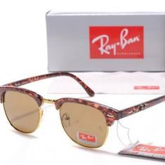 Ochelari Ray Ban ClubMaster 3016 Rama animal print Lentile maro - Ochelari de soare Ray Ban, Unisex, Fluture, Protectie UV 100%