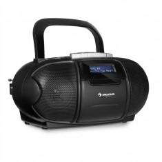 AUNA BEEBOY DAB BOOMBOX GHETTOBLASTER, casetofon pe casete, usb, cd, mp3, negru - Combina audio