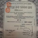 1000 Lei Aur  Titlu de Stat   Obligatiune la purtator neincasata Romania 1913