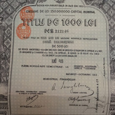 1000 Lei Aur  Titlu  obligatiune   cu  cupoane neincasate emisa in anul 1913