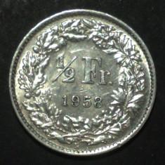 Elvetia 1/2 francs 1958 Argint, Europa