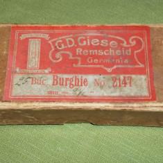 Cutie veche din carton Burghie no. 2147 G. D. Giese Remscheid - Cutie Reclama
