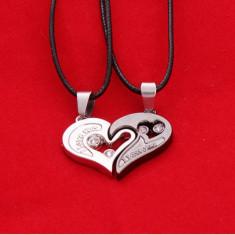 Pandantiv / Lantisor I Love You inima pentru cuplu indragostiti - Pandantiv fashion