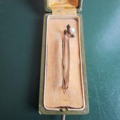 1800 S AC DE CRAVATA AUR MASIV CU 2 DIAMANTE SI O PERLA 50 MM CUTIE ORIGINALA - Inel aur, Carataj aur: 12k, Culoare: Galben