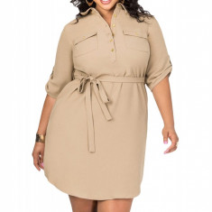 Y554P-14 Rochie plus size casual, stil camasa cu maneci 3/4 - Rochie de club, Marime: XL, XXL