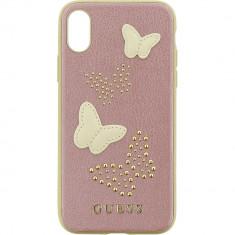 Husa Protectie Spate Guess GUHCPXPBURG Piele Studs&Sparles Butterflies Roz pentru APPLE iPhone X - Husa Telefon
