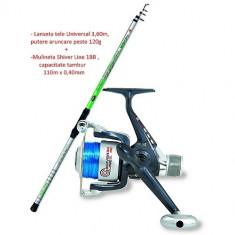 Combo Kit Lanseta Telescopica Universal 3, 6 Metri + Mulineta Shiver 40 COMBO02 - Set pescuit