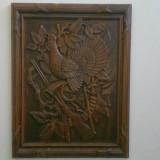 Tablou vanatoresc, sculptat din lemn masiv