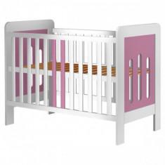 Patut din Lemn Sophie Alb Roz - Patut lemn pentru bebelusi