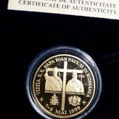 Moneda Aur 24 Karate-Vizita Papei Ioan Paul al II-lea în România 31gr. - Moneda Romania, An: 1999