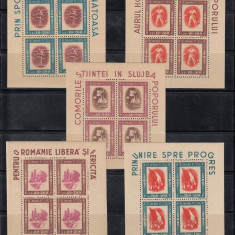 TINERETUL PROGRESIST 1946 - SERIE IN BL 4 CU MANSETA LP 197 A - MNH - Timbre Romania, Nestampilat