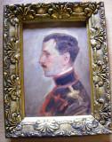 Portret ofiter semnat Nicolae Vermont ulei pe panza lipita pe carton, Peisaje, Carbune, Realism