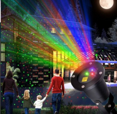 Laser Exterior Craciun cu rosu verde albastru foto