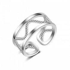 Inel argint si zirconiu Large Waves - Inel Swarovski