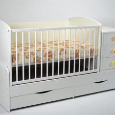 Patut Transformabil Mykids Silence Alb Cu Leganare - Patut lemn pentru bebelusi