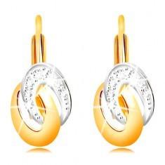Cercei din aur 585 - ovaluri bicolore unite, zirconii transparente - Cercei aur