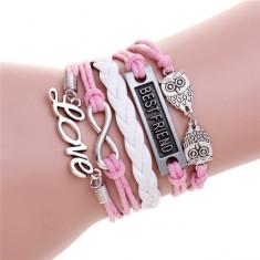 Bratari in 4 stiluri variate - roz & alb - Bratara Fashion