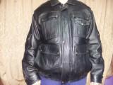 Geaca piele Originala pilot/aviator/politie/armata/ofiteri Romania,T.GRATUIT, XXL, Negru