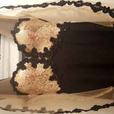 Rochie de seara lunga BBY cu paiete aurii si dantela, Marime: 38, Culoare: Auriu