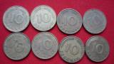 10 PFENNIG 1949 F, 1950 D, 1982 D, 1988 D, 1989 F,D, 1990 G,D. LOT 8 BUC., Europa