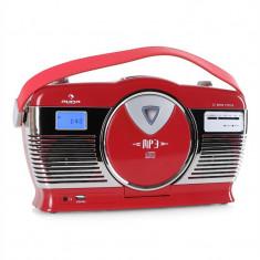 Radio portabil Retro Vintage Auna RCD-70 culoare roșie - CD player