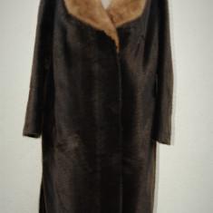 Haina din blana ecologica cu guler din blana de nurca - haina de blana