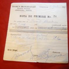Nota de Primire - cu Antet Banca Muscelului 1937 - Hartie cu Antet