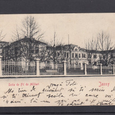 IASI MOLDOVA IASSY SCOALA DE FII DE MILITARI CLASICA CIRCULATA 1903 - Carte Postala Moldova pana la 1904, Printata