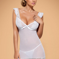 Set Chemise și Tanga Julitta Obsessive - Lenjerie sexy femei, Marime: S/M, L/XL, Culoare: Alb
