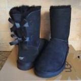 UGG Australia  Bow Black  piele si blana naturala de oaie fundita