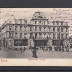 IASI MARELE HOTEL TRAIAN IASSY CLASICA CIRCULATA 1909 - Carte Postala Moldova pana la 1904, Printata