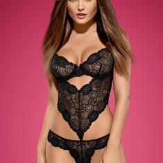 Body din Dantelă Alluria Obsessive - Body dama, Marime: L/XL, Culoare: Negru