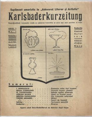 Revista KARLSBADERKURZEITUNG - 1934, red.Pastorel Teodoreanu, nr.unic,an I,nr.1 foto