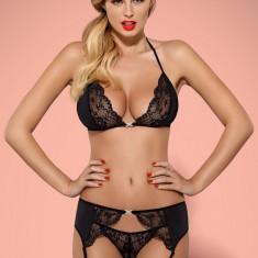 Set Sutien, Chilot și Portjartier Charmea Obsessive - Set lenjerie sexy, Marime: L/XL, Culoare: Negru
