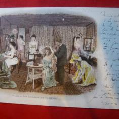 Ilustrata Litografie - Culisele Varieteului circulat 1901, Paris- Bucuresti, Circulata, Printata