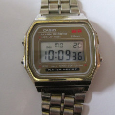 Ceas digital vintage Casio model 593 A159W din anii 80/stare buna de functionare - Ceas barbatesc Casio, Casual, Quartz, Otel, Ziua si data