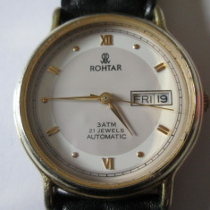 Rar!Ceas Rohtar Automatic 21 Jewels editie limitata, mecanism Miyota 8215/Citizen - Ceas barbatesc Citizen, Elegant, Mecanic-Automatic, Inox, Piele, Ziua si data