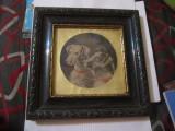 Goblen in rama veche din lemn executata in lipova atelier m herling pe timbru, Dreptunghiular