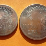 LOT DE 2 MONEDE 100000 LEI 1946 NORMALA SI SUPRADIMENSIONATA - Moneda Romania